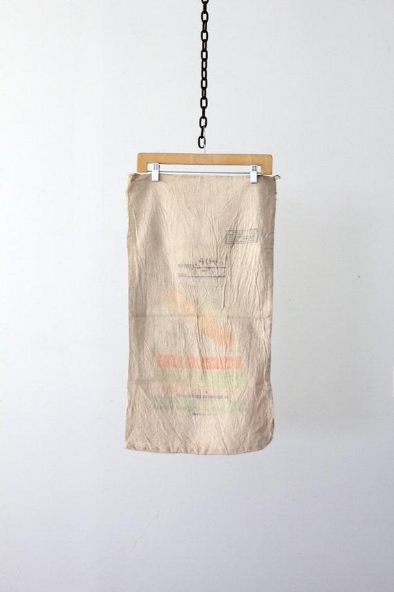 vintage farm seed bag, American grain sack, farmhouse textile