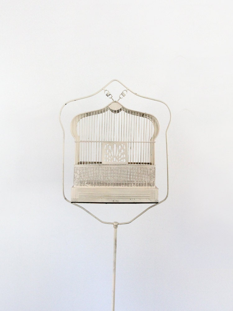 Antique Birdcage With Stand 1920s White Bird Cage