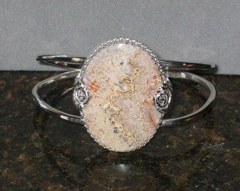 Crazy Lace Agate Cuff Bracelet, Sterling Silver, ON SALE