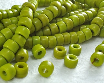 20 Glass Beads  9mm Vintage Czech Pony Trade Green Tribal BOHO Large Hole beads