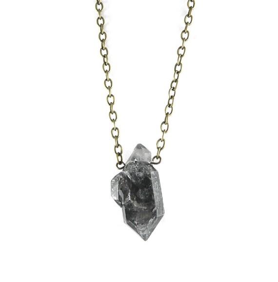 Long Antique Bronze Raw Natural Quartz Crystal Pendant Necklace OOAK