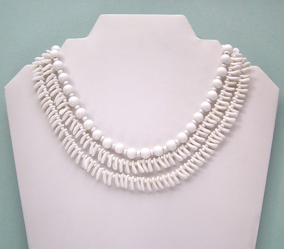 Reserved for KB - Vintage Miriam Haskell Three Strand White Glass Bead Necklace