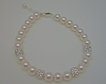 Swarovski Crystal Pearl Pave Rhinestone Ball Bridal Bracelet, The Natalie