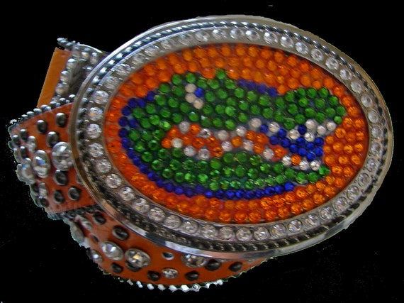 Florida Gators Swarovski Crystal Gator Belt Buckle and Orange Leather Belt With Clear Rhinestone Crystals
