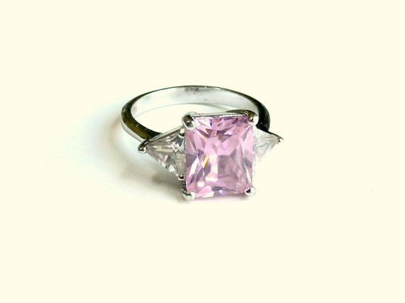 Vintage Pink Topaz Ring in Sterling Silver with Cubic Zirconias - 925 HMI - size 8