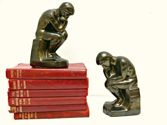 The Thinker Bookends - Gilt Metal - Vintage Home Decor