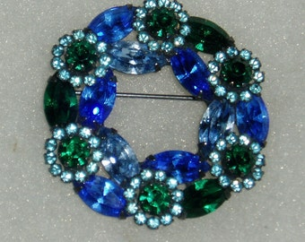 Vintage Weiss Pin Brooch, Signed, Blue-Green-White