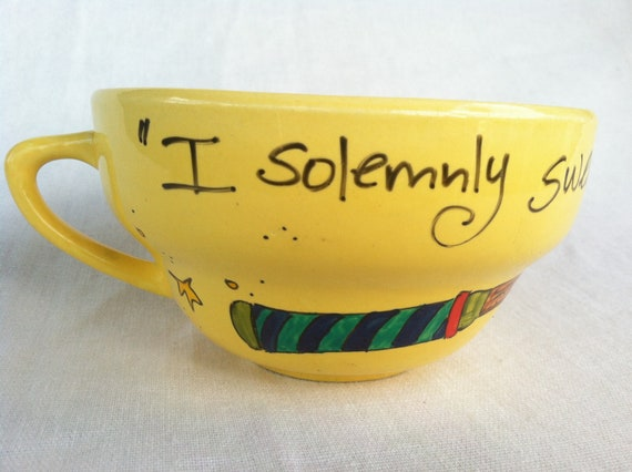 "The Marauder's Mug - Harry Potter ""I solemnly swear that I am up to no good"" Banana Yellow Quote Mug with owl and wand"