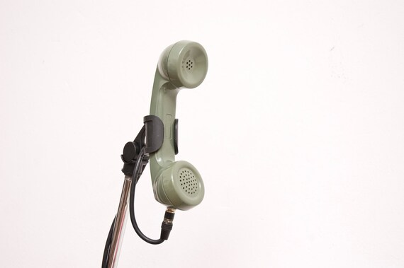 Vintage Olive Green Telephone Microphone with Mic Clip