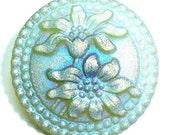 27mm Transparent  Grren Czech Glass Button-Matte Iridescent Luster-Flowers