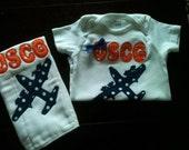 Coast Guard Shower Gift set Onesie Burp Cloth Baby Set Little Coastie c130 H60 OR Anchor