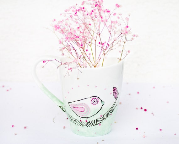SALE Mint Pink Bird - handpainted ceramic mug WAS 38  USD