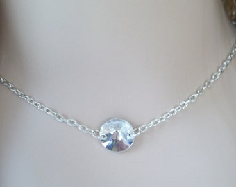 Floating Crystal Necklace,Bridal Necklace,Solitaire Swarovski Crystal Necklace,Crystal Backdrop, Bridesmaid Jewelry Necklace