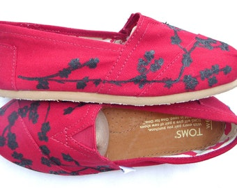 The Cherry Silhouette - Red and Black Cherry Blossom Custom TOMS