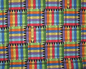 Crayons on black fabric 1 yard