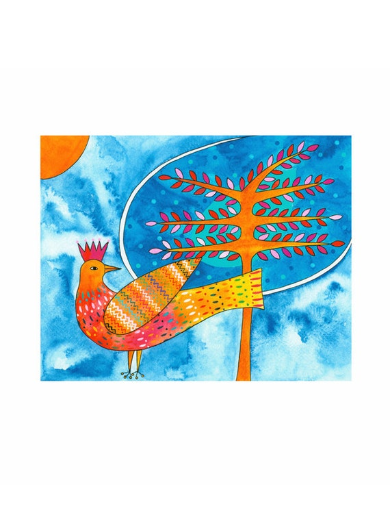 Bird Art Stylised Folk A4 Print Golden Painted Bird And Tree Blue Background