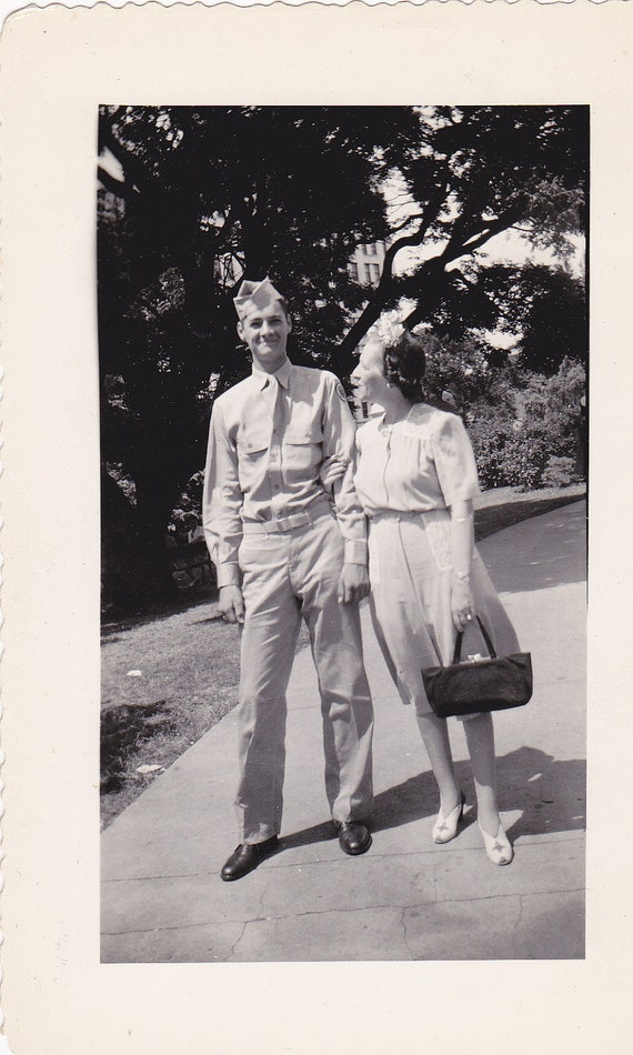 Soldier and Proud Mother- 1940s Vintage Photograph