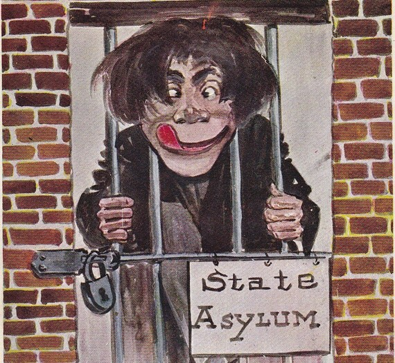 I'm Off to the State Asylum- H. H. Tammen- 1907 Vintage Postcard- Used