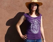 Lucky Cowgirl - Western Screen Print T Shirt - Womans Fashion - Amythest Purple - Scoop Neck Tee - Ladies Summer Shirt