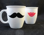 Pink lips and black mustache mug set Mr.and Mrs.  2-handpainted