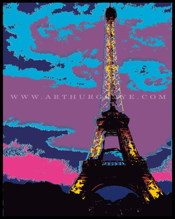 Eiffel Tower Illustration 8x10 Print
