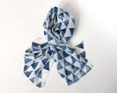 Triangle silk cotton Scarf Indigo -  Hand painted lightweight Silk Cotton blend