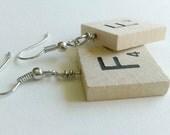 Scrabble F Earrings - For Scrabble Geeks Everywhere