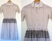 S/M Vintage 1950s Jeanne D Arc Sheer Striped Cross Stitch Dress