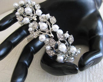 White Faux Pearl and  Crystals Bracelet Bridal Wedding Jewelry or Bridal Party