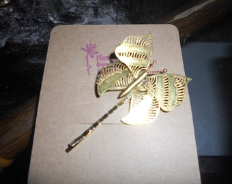 Bobby Pin Hair Pin  Handmade vintage brass lace butterfly bobby pin unique hair pin on gift card Butterfly