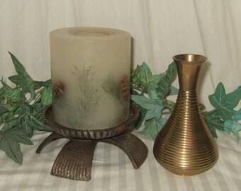 Vintage brass candle holder brass vase Asian oriental East Indian decor brass candleholder ringed brass vase solid brass decor grooved brass