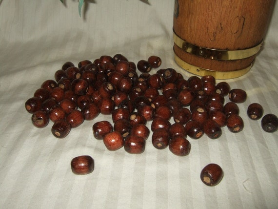 Vintage wood beads vintage Supplies wood beads dark beads bulk over 200 beads.