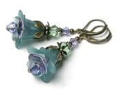 Teal Twilight Blue Green Flower Swarovski Crystal Antique Brass Earrings