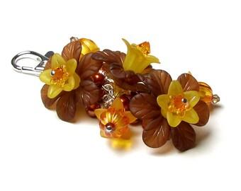 Orange Brown Flower Handbag Charm, Swarovski Crystals, Pearl Clusters, Autumn Halloween Pumpkin Beads, Fall Purse Accessory, Gifts For Women