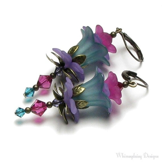 Floral Fairy Turquoise Green Fuchsia Purple Crystal Antique Brass Earrings