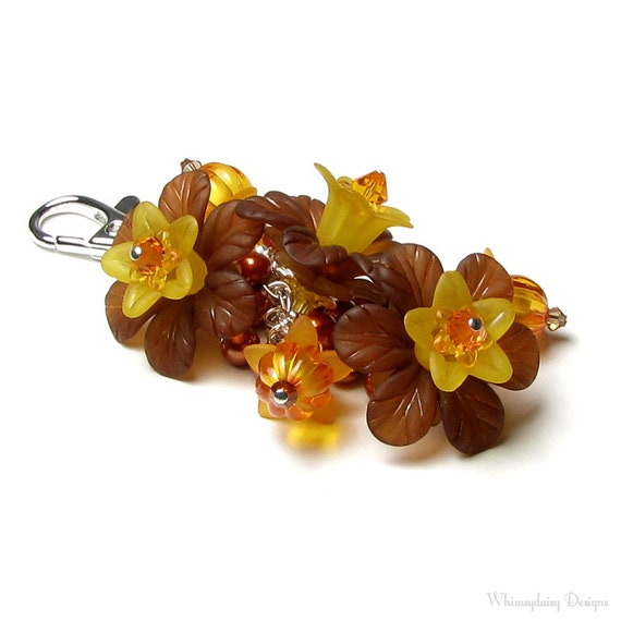 Orange Pumpkin Brown Floral Crystal Pearl Handbag Charm