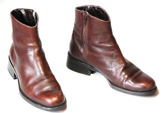 Womens US 8 Brown Leather Side Zip Ankle/Granny Boots