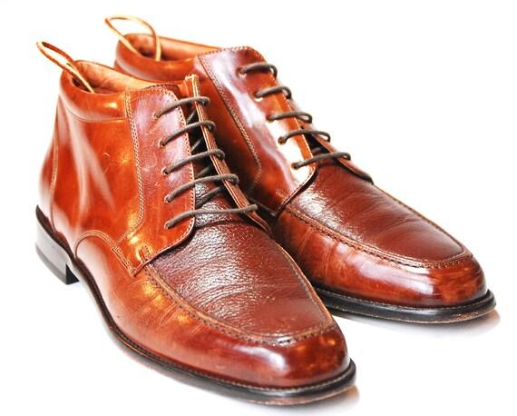 Vintage Mens US 11 Sleek Autumn Brown Leather Italian Bostonian Dress Oxfords Chukka Ankle Boots
