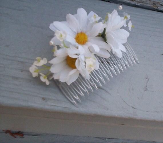Daisy Hair Comb Hippie Flower Wedding By Budgetweddingbouquet