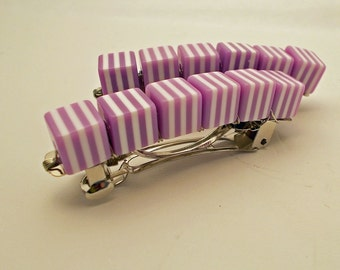 Retro Stripe Barrettes - Orchid - Set of 2 - acrylic retro cube barrettes for girls, teens, and women by reynared