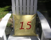 """18"""" Indoor Outdoor Yellow Gingham Oilcloth Decorator/ Throw/ Toss Pillow Cover with Monogram - Featuring Your House Number Porch Pillow"""