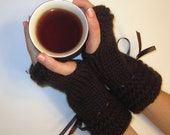 Fingerless Gloves Brown Knit With Brown Ribbon