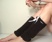 Leg Warmers Brown Knit White Ribbon