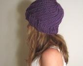 Knit Hat Purple Oversized Slouchy