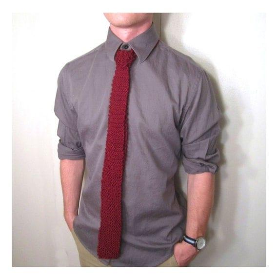 Knit Tie Maroon Red, Skinny Mens Necktie, Wedding Tie