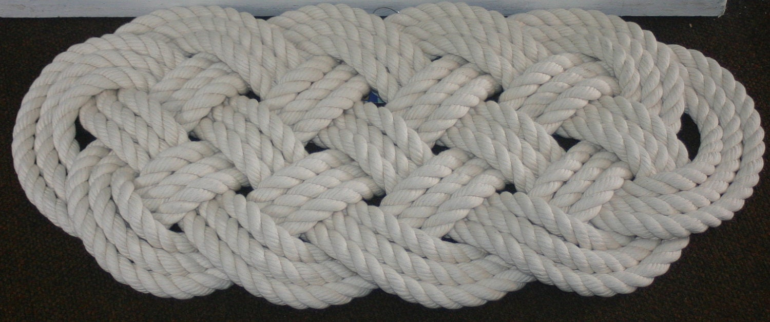 Items similar to soft nautical rope rug 27 x 12 off for Rope bath mat
