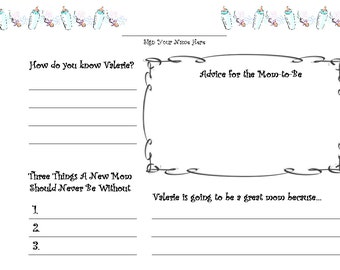 Customized Baby Shower Guestbook Guest book Pages- Personalized & Printable