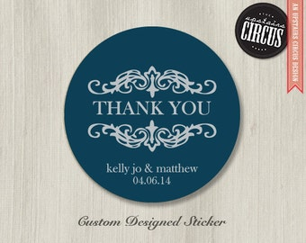 Custom Wedding Stickers - Flourish Thank You Labels