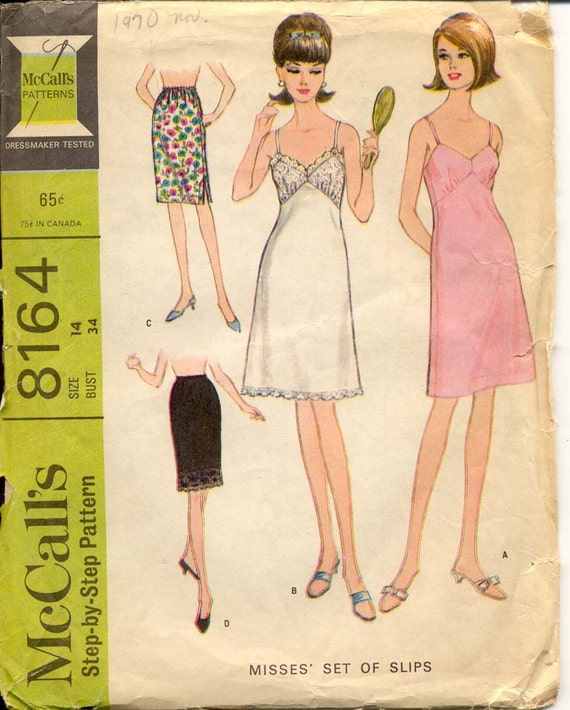 McCalls 8164 Misses 1960s Lingerie Pattern Half and High Waist Lace Bodice Full Slips Womens Vintage Sewing Pattern Bust 34 UNCUT