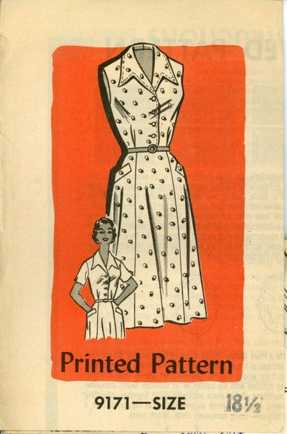 Marian Martin 9171 Womens 1950s Dress Pattern Flared Gored Skirt Shirtwaist Dress Womens Vintage Mail Order Sewing Pattern Bust 38